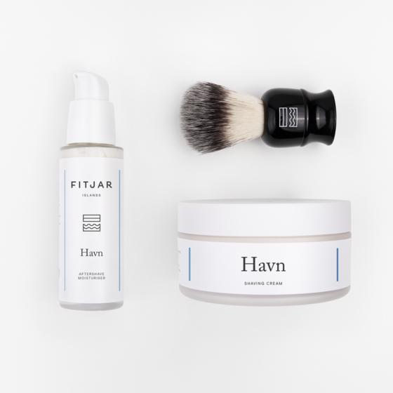 Havn Shaving Cream + Aftershave Moisturiser + Vegan Shaving Brush   FITJAR ISLANDS SETS.