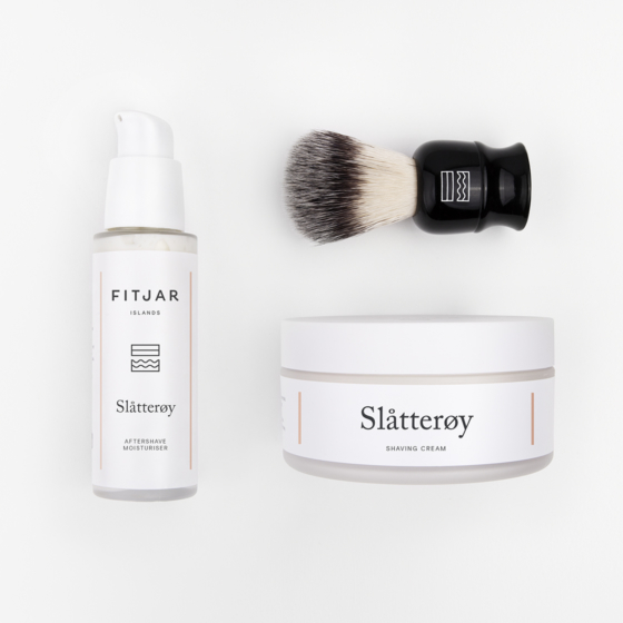 Slatteroy Shaving Cream + Aftershave Moisturiser + Vegan Shaving Brush | FITJAR ISLANDS SETS.